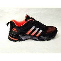 Adidas Marathon Flyknit мужские чёрные с оранжевым (41-45)