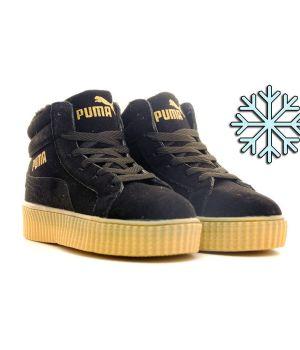 Зимние кроссовки Puma By Rihanna чёрные (36-40)